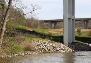 The trail offers beautiful views of the river.