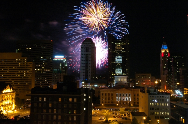 A brilliant display of fireworks viewed from downtown Columbus.