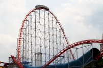 Guests about to experience a daring drop on Cedar Point's Magnum XL-200 roller coaster.