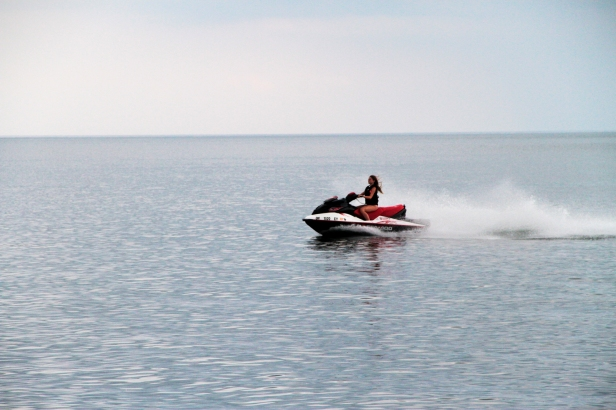 Who said the beach was just for relaxing? Thrill seekers can rent jet skis at Lake Erie from Cedar Point.