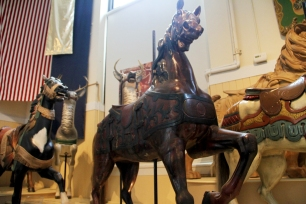 These antique carousel figures are displayed at the Merry Go Round Museum in Sandusky.