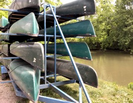 Canoes are available to rent for visitors interested in exploring the Hocking River.