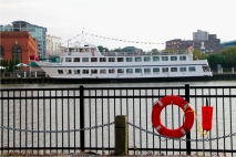 The Nautica Queen docks on the west bank of the Flats after a dinner cruise and siteseeing tour of Cleveland.