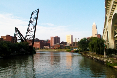 The view from the Cuyahoga River, just around the bend from where it meets Lake Erie in the Flats.